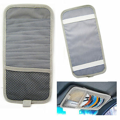 12 Disc Capacity CD Car Sun Visor Storage Dvd Holder Grey Pocket Case Organizer