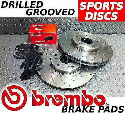 BMW 3 Series E46 316 318 Drilled & Grooved FRONT  REAR Brake Discs BREMBO Pads