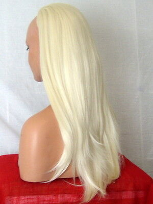 Half Wig Fall Clip In Hair Piece straight Long 3/4 wig fall Pale Blonde cheap Y5