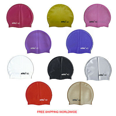 Ishka Adult Children Silicone Swim Swimming Hats Caps In Various Colours New