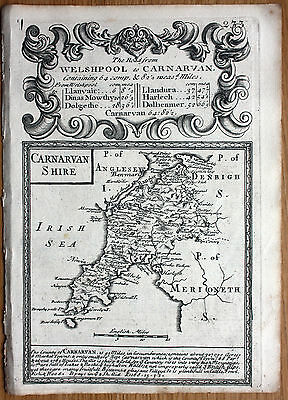 OWEN & BOWEN CAERNARVONSHIRE original antique county map 1736
