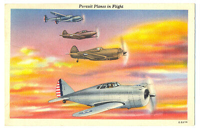 WWII US Army Air Force Pursuit Planes in Flight Postcard 1943
