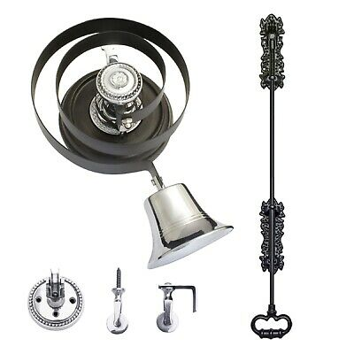 Butlers Bell - Black Iron Pull + CHROME | With Wood Plinth - FULL KIT