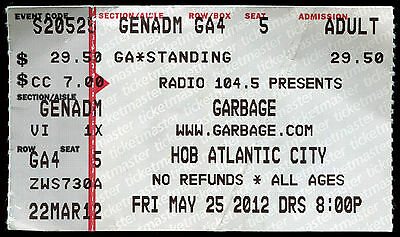 GARBAGE 5/25/2012 Not Your Kind Of People Tour Concert Ticket HOUSE OF BLUES NJ