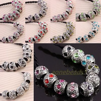 Lots Crystal Rhinestone Carved Rondelle European Charm Beads Fit Bracelet Chain