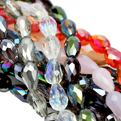 Glass Crystal Faceted Teardrop Briolette Beads for Jewellery Making Craft
