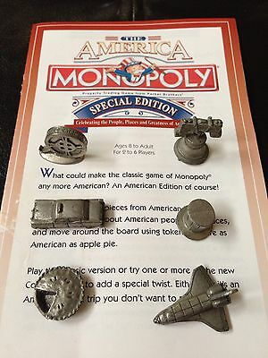 Monopoly The America Special Edition 6 Movers Tokens Shuttle Bell Pie Film Hat !