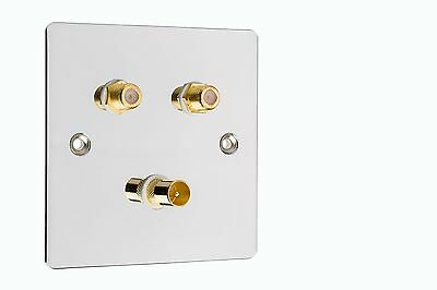 Polished Chrome 1x TV 2x Satellite Coax Wall Plate  Easy Fit Type F Connections