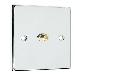 Polished Chrome 1x Satellite Coax Wall Plate  Easy Fit Type F Connection