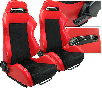 New 2 Red & Black Racing Seats Reclinable W/ Slider All Chevrolet **