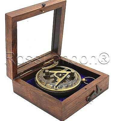Brass Sundial Compass - Pocket Sundial With Hardwood Box