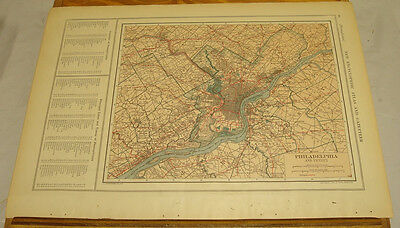 1908 Colliers Antique COLOR Map/PHILADELPHIA, b/w PORTO RICO & RHODE ISLAND