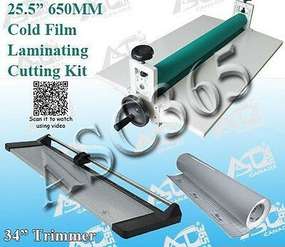 "Lamianting Kit: 25.5"" Cold Laminator+34In Paper Trimmer +1 Rolls Laminating Film"