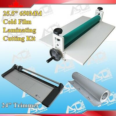 "25.5"" Cold Laminator +24In Rotary Paper Cutter Trimmer + Rolls Laminating Film"