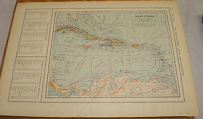 1908 Colliers Antique COLOR Map/WEST INDIES, b/w PANAMA CANAL