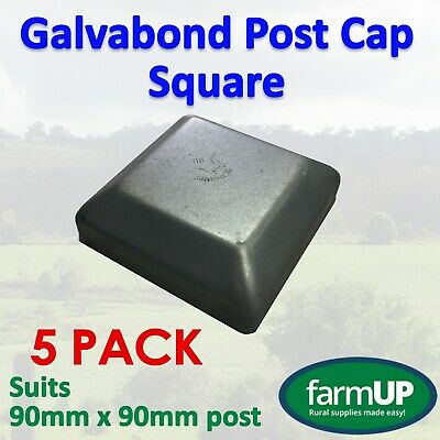 5x GALVABOND POST CAP SQUARE 90mm x 90mm - Fence Post Tube Flat Top New