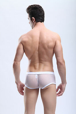 Boxer taille M blanc maille transparent  Manview by NEOFAN sheer sexy Ref M06