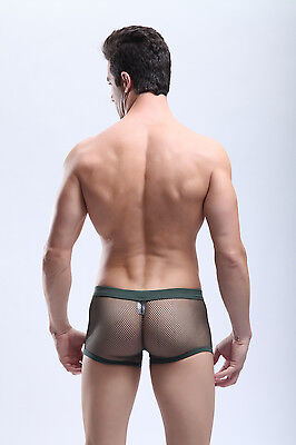 Boxer taille M vert kaki maille transparent Manview by NEOFAN sheer sexy Ref M06