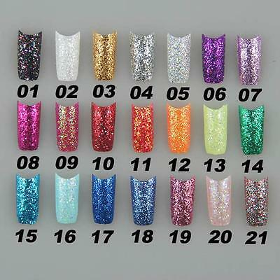 A001 Super GLITTER Slice Fashion False French Acrylic Nail Tips 50 / 100 Pcs