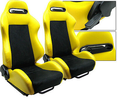 New 2 Yellow & Black Racing Seats Reclinable W/ Slider All Chevrolet **