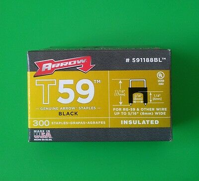 1500-Pack Arrow Fasteners 591168BL T59 1//4-In by 1//4-In Black Insulated Staples