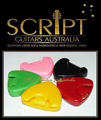 Adhesive Spring Loaded Guitar Pick Holder / Case / Box Accessory +  3 x Picks