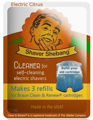 6 Refills for Braun Clean & Renew® cartridges =2xShaver Shebang-Electric Citrus