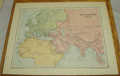 1903 Antique COLOR Map/WORLD KNOWN TO ANCIENTS, b/w ROMAN EMPIRE