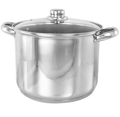 Deep Stainless Steel Induction Stock Soup Pan Pot  Stockpot Air Vented Glass Lid