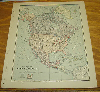 1887 Harpers Antique COLOR Map/NORTH AMERICA (Political)