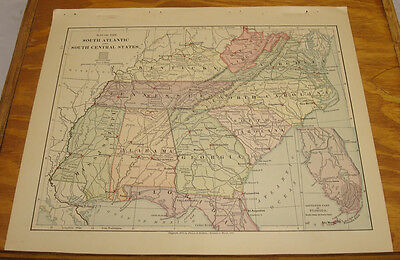 1887 Harpers Antique COLOR Map/SOUTH ATLANTIC & SOUTH CENTRAL STATES