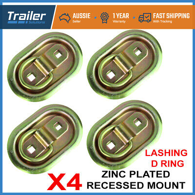 4 X Lashing D Ring Oval Tie Down Anchor Point Zinc Plated Ute Trailer 105 X 70Mm