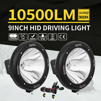 PAIR 9inch 100W HID Driving Lights Spotlight Offroad Work Lamp 4X4 Black 12V