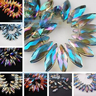 10pcs 22X7mm Big Crystal Pendants Charms Faceted Loose Spacer Glass Beads