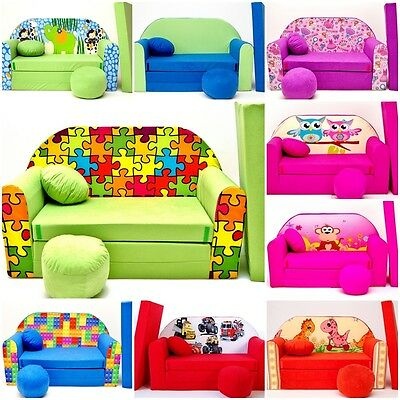 New Kids Sofa Bed Childs Furniture Cotton Cover + Free Footstool & Cushion