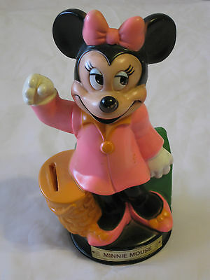 Vintage Walt Disney Minnie Mouse in Pink Piggy Bank Moveable Arm to Drop Money