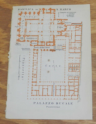 1909 Antique COLOR Layout Map of BASILICA OF SAN MARCO, ITALY