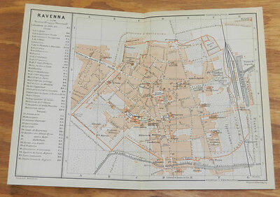 1909 Antique COLOR Road Map of RAVENNA, ITALY
