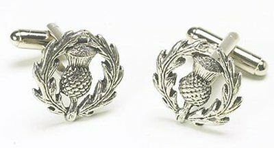 Scottish Thistle Pewter Handcrafted Cufflinks Cuff Links NEW in BOX   9432