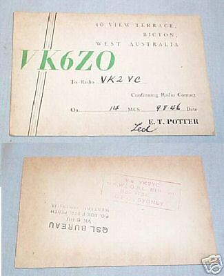 #d11. Qsl Card - 1948 Australian Radio Contact Test Card - Vk6Zo, Bicton Wa