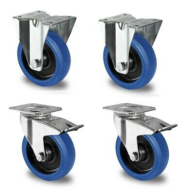 1 Satz Blue Wheels Lenkrollen 200mm Tragkraft 400 kg pro Rolle Transportrad