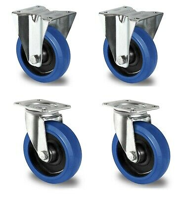 1 Satz Blue Wheels 200 mm Bockrolle Lenkrolle