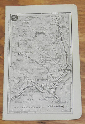 c1914 Antique Road Map of MENTON & CAPE MARTIN, FRENCH RIVIERA, FRANCE