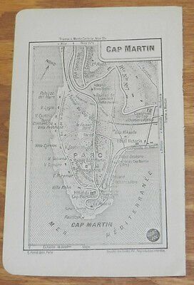 c1914 Antique Road Map of CAPE MARTIN, FRENCH RIVIERA, FRANCE