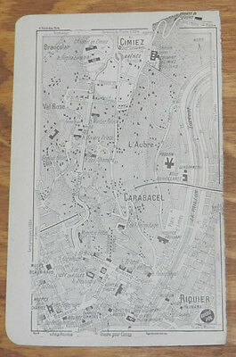 c1914 Antique Road Map of CARABACEL, FRENCH RIVIERA, FRANCE