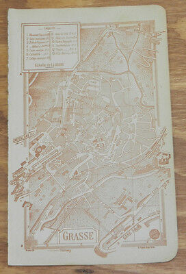 c1914 Antique COLOR Road Map of GRASSE, FRENCH RIVIERA, FRANCE