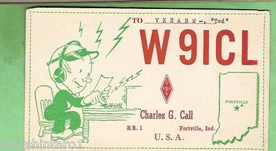 #d32. Qsl Card - 1956  Radio Contact Card - W9Icl, Fortville, Indiana, Usa