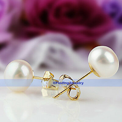12 Colors Classic Genuine Natural Freshwater Pearl Silver/14K Gold Stud Earrings