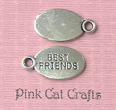 "19mm Tibetan Silver /"" Best Friends /"" Name Tags Jewellery Beading M45 20 Pcs"
