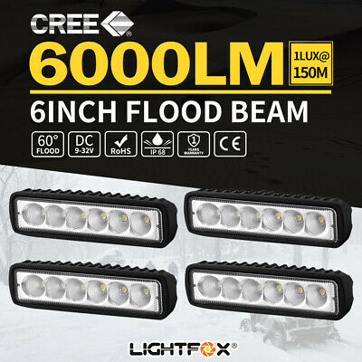 4x 6inch 18W LED Work Light Bar Driving Lamp Flood Truck Offroad UTE 4WD